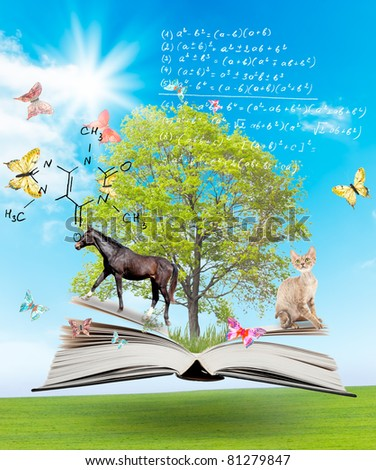 Magic book with a green tree and different animals on the background of nature. Symbol of knowledge