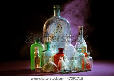 Magic bottles with smoke