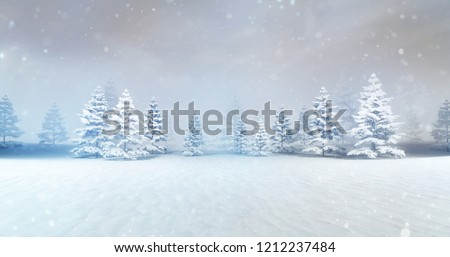 magic calm winter forest at daylight with snow drops, winter nature 3D scene copy space background illustration rendering