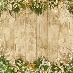 Magic Christmas garland on a wooden background