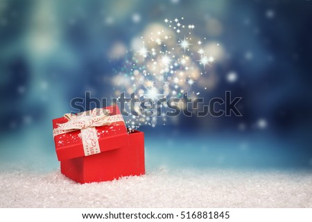 Magic Christmas gift box, opened gift box with stars and light, surprise #516881845