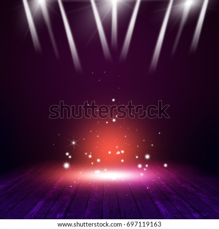 magic concert background with multicolor lights on the stage