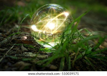 Magic crystal ball atom on forest floor for summer fantasy imagery