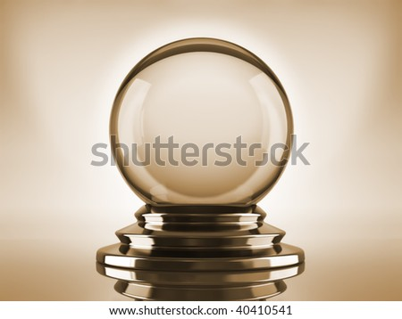 Magic crystal ball on blue background - 3d render