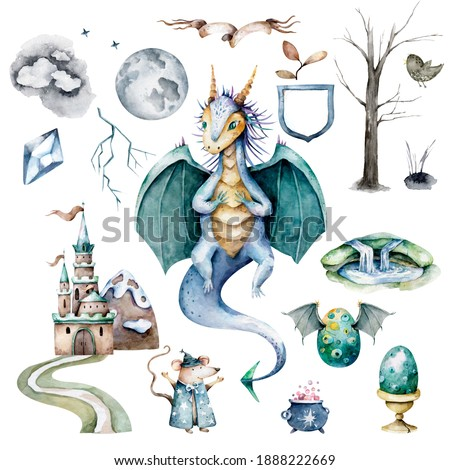Magic cute baby pattern for girls with fairy castle, dragon, colorful rainbow, princess and other fairy elements and