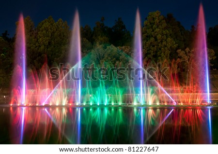 magic fountain in Taiwan - lights,colors and music spectacle at night