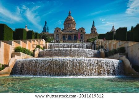 Magic Fountain of Montjuic and Palau Nacional. Barcelona, Spain Foto stock ©