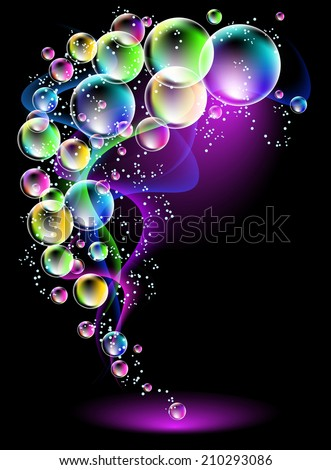 Magic glowing background with neon smoke, shining stars and fi spectacular bubbles
