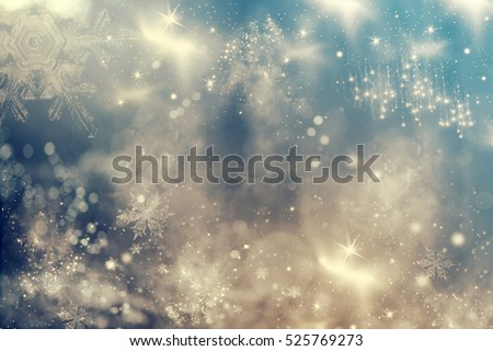 Magic holiday abstract glitter background with blinking stars and falling snowflakes. Blurred bokeh of Christmas lights. #525769273