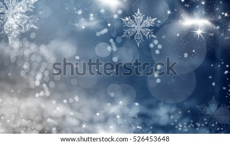 Magic holiday abstract glitter background with blinking stars and falling snowflakes. Blurred bokeh of Christmas lights.   #526453648