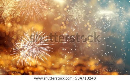Magic holiday abstract glitter background with blinking stars and falling snowflakes. Blurred bokeh of Christmas lights. #534710248