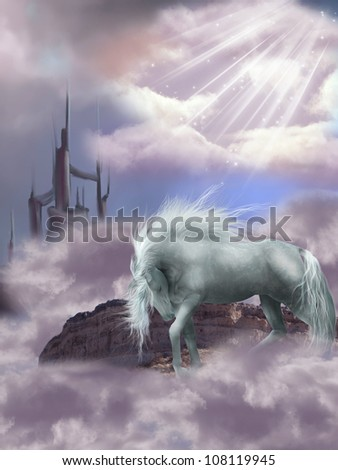 Magic Horse in the sky with castle
