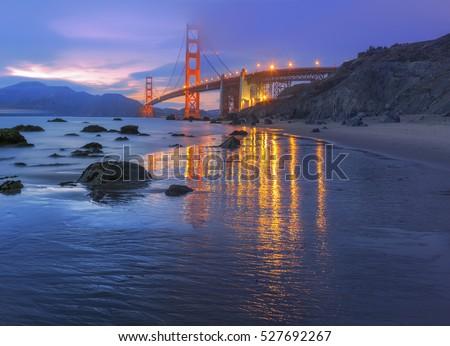 Magic hour at the Golden Gate Bridge. Golden Gate Bridge in San Francisco, California, USA Сток-фото ©