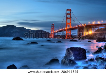 Magic hour at the Golden Gate Bridge.\nGolden Gate Bridge Lights.\nGolden Gate magic.