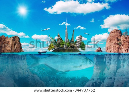 Stock Photo Magic island with the famous monuments, creative travel concept.