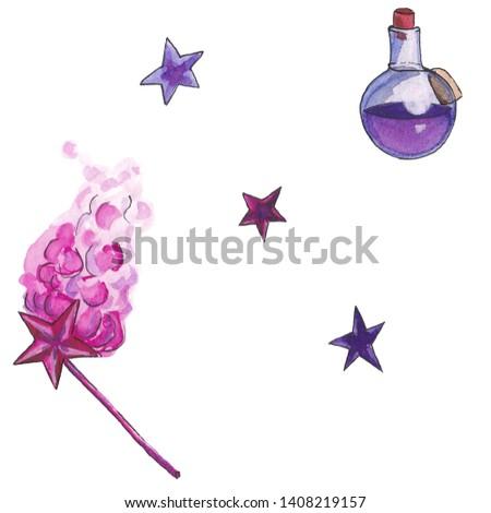 magic items: magic wand, potion and stars
