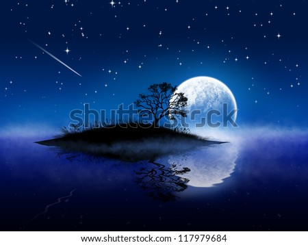Magic night landscape with moon and lake