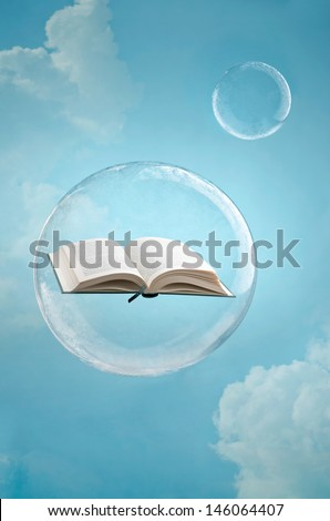 Magic of books. Open book floating in a soap bubble in the sky