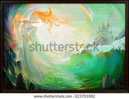 Stock Photo Magic of Music. Oil painting on canvas.