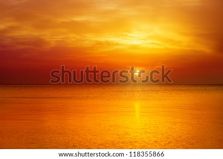 Magic orange sunset over sea