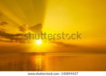 Magic orange sunset over sea #140894437