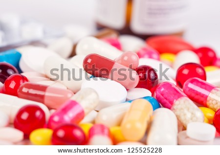 Magic pills isolated on white background