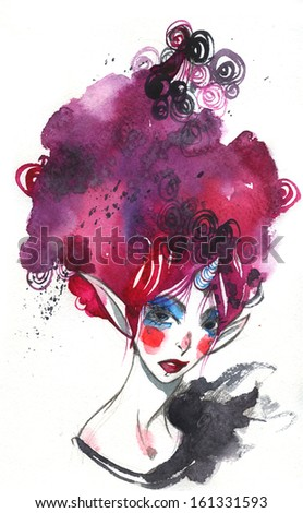 magic pixie lady with violet hair