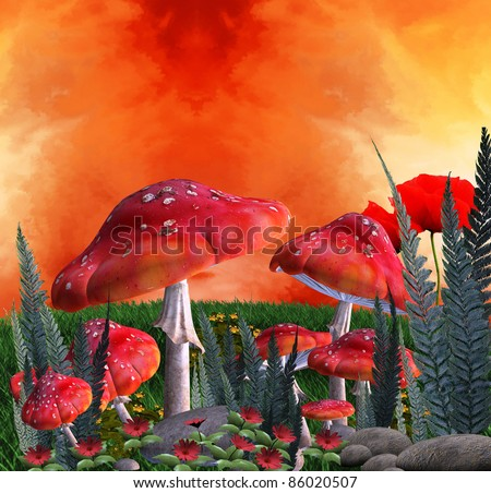 Magic place with mushrooms