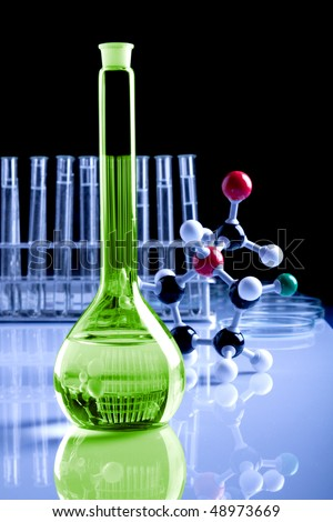 magic potion in laboratory, molecules in background
