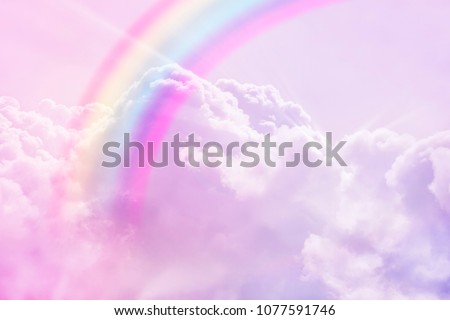 magic rainbow fantasy cloud background  fluffy sky white landscape with sunny rays. Pastel colors dreams unicorn concept