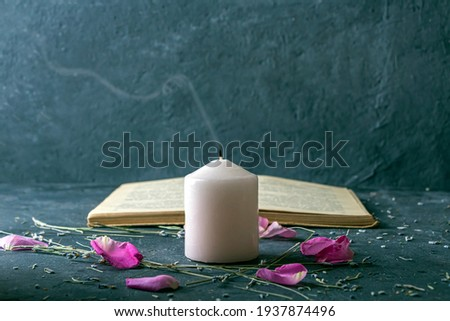 Magic still life with pink candle and old herbalist book. Esoteric and pagan rituals, witchcraft Wiccan or spiritual practice (healing). Ritual for love. Herbal treatment Stock fotó ©