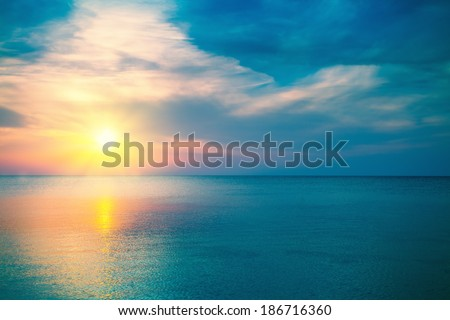 Magic sunrise over sea