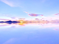 Magic sunrise sky over beautiful lake water, zen, meditation, tranquility, angel heaven.
