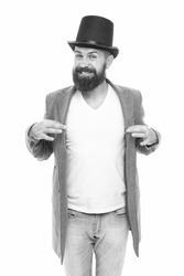 Magic trick performance concept. Circus magic trick performance. Entertainment and theatre. Aristocracy concept. Magic show. Master of cunning tricks. Street performance. Man bearded guy magician