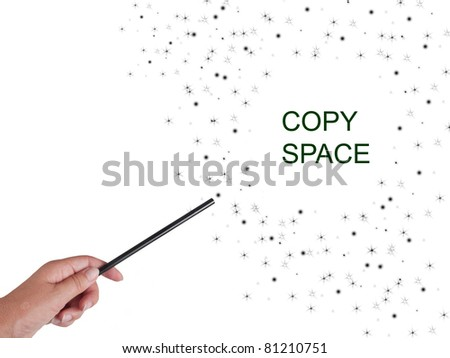 Magic wand, black, with sparkles and stars background - stock photo