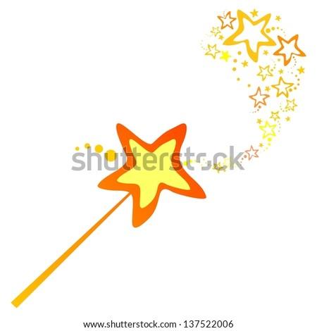 Magic wand isolated on White background.  illustration