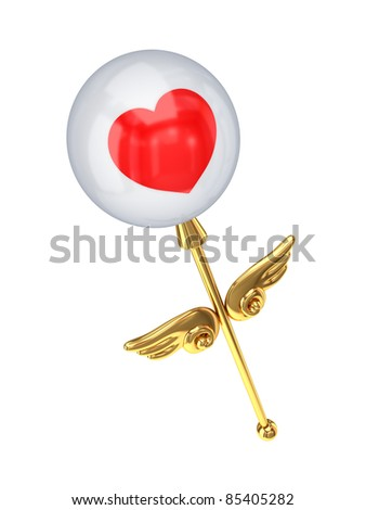 Magic wand with a red heart.Isolated on white background.3d rendered.