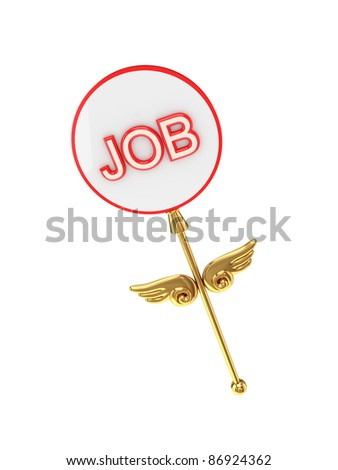 Magic wand with an inscription JOB. Isolated on white background.3d rendered.