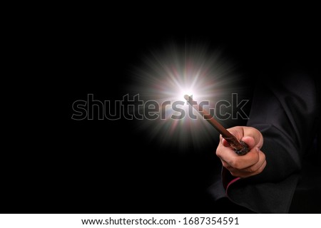 Magic wand with sparkle, Miracle magical wand stick with light sparkle.