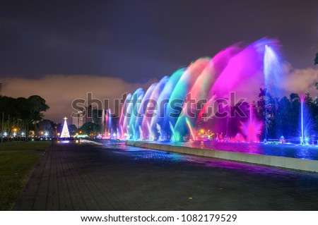 Magic water circuit and light show at the Park of the Reserve (world's biggest fountain complex) in Lima, Peru