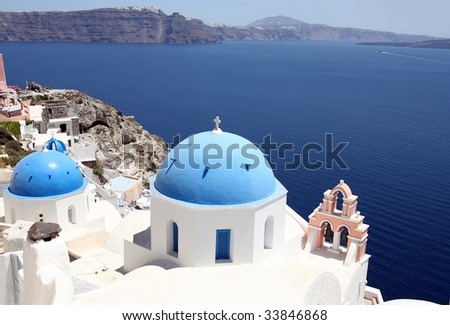 Magic white-blue landscape of island Santorini, Greece