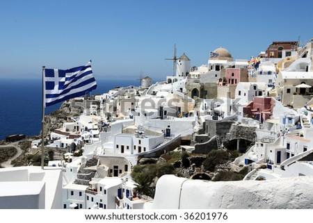 Magic white-blue landscape of island Santorini, Greece