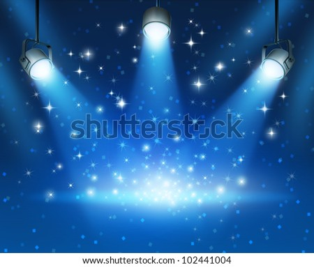 Magical blue abstract image of concert lighting against a dark glowing background Illustration with shiny sparkles with a blank center as a symbol of entertainment and important announcement message.