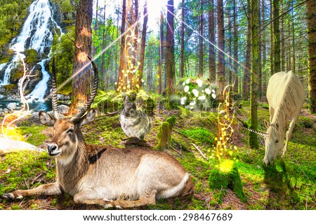 Magical enchanted forest with unicorn, magic animals and a waterfall