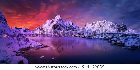 Magical evening in Lofoten. North fjords with mountains landscape. scenic photo of winter mountains and vivid colorful sky. stunning natural background. Picturesque Scenery of Lofoten islands. Norway Stock photo ©