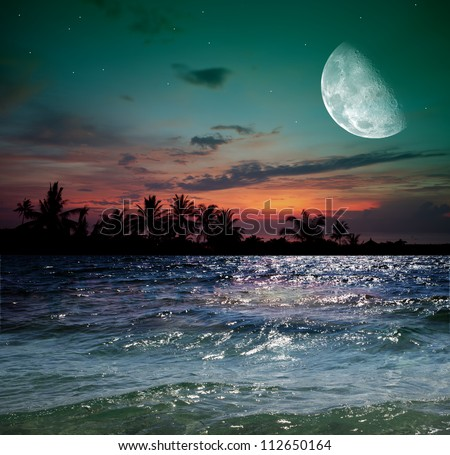 Magical evening on the ocean and the moon #112650164