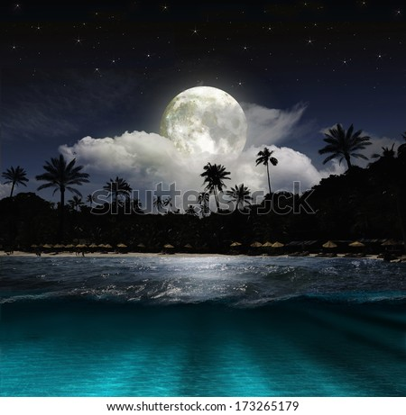 Stock Photo Magical evening on the ocean and the moon