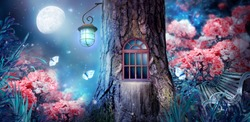 Magical fantasy elf or gnome house in tree with window and lantern, bench in enchanted fairy tale forest with fabulous fairytale blooming pink rose flower garden and shiny glowing moon rays in night