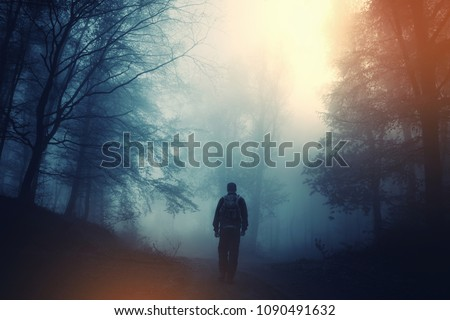 magical forest scene with man walking on dark scary road
