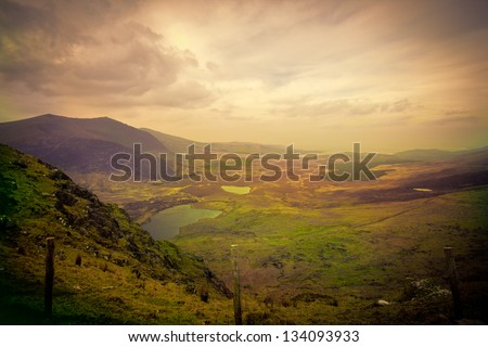Magical Ireland landscape with hills